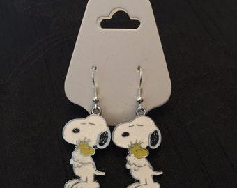 Silver Plated Snoopy Dog Hug Earrings