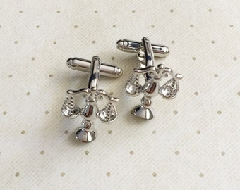 Scales of Justice Cufflinks Cuff Links in Silver