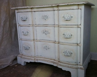 antique dresser, DREXEL 38 L x 19 W x 31 H, distressed ivory not Annie Sloan chalk paint, refurbished , white, wood