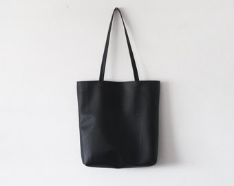 Simple black leather tote bag