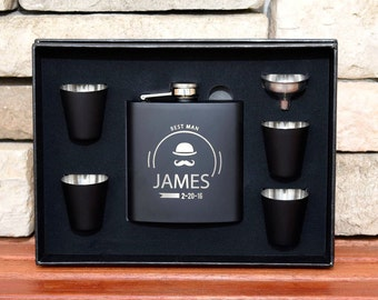 15 Flask Gift Set, Groomsmen Gifts, Personalized Flasks For Christmas, Custom Flasks, Engraved Flasks, Groom Gift,  Custom Groomsmen Flask