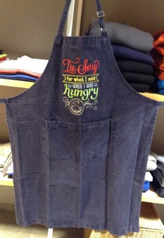 Mens denim apron embroidery, Machine embroidered I'm Sorry for What I Said on long apron with pockets