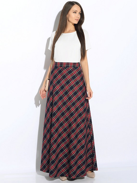 maxi black plaid skirt maxi black tartan by aliceberryfashion