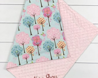 Pink baby blanket - pink and blue - baby girl  blanket - monogrammed baby shower gift