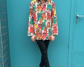 Vintage 70s Mexico Look Jacket Blouse Shirt One Size