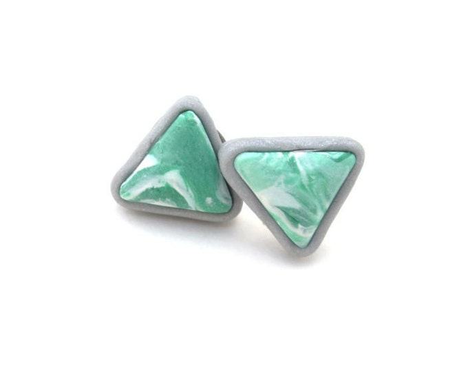 MARBLED MIA STUDS// Handmade green, white and silver, geometric triangle cabochon marbled polymer clay studs//Little Tusk // #SE1012D