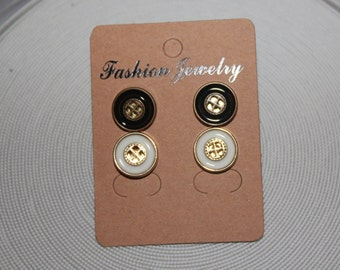 "1/2"" Button earrings, button earrings, button stud earrings, flat back, white/gold & Black/Gold"