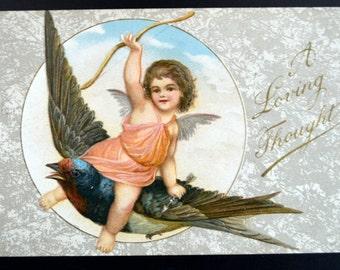 Valentine's Postcard Cupid with Flying Bird