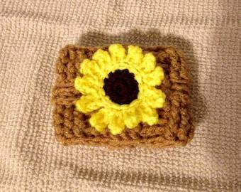 crochet cup cozy / crochet cozy / sunflower cozy / beer cozy / coffee cup cozy / cup cosy / coffee cozy