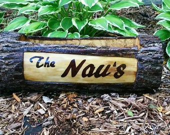 Natural Log Fireplace Decor - Wood Planter - Personalized Planter - Wood Burned - Natural Log Wedding Centerpiece - Gift for Bride