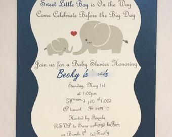 Elephant Baby Shower Invitation, Set of 12