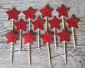 12 Red Star Cupcake Toppers