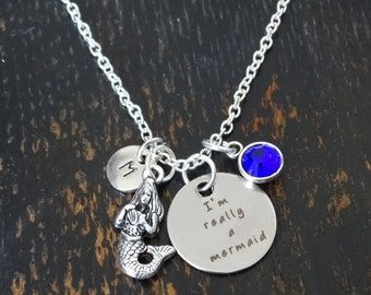 I'm really a Mermaid Necklace, I am really a Mermaid Charm, I am really a Mermaid Pendant, Mermaid Jewelry, Mermaid Girls, Little Mermaid