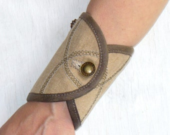 Leather Denim cuff, Purse Wristlet, wrist wallet cuff, bracelet wallet, Purse bracelet ,Leather Denim cuff, money cuff, pocket cuff