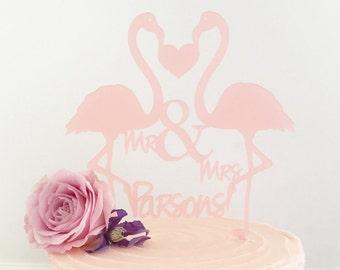 Personalised Flamingos Wedding Cake Topper Medium Size-personalised wedding cake topper-personalised wedding cake decoration-flamingos