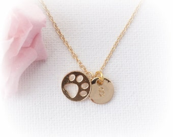 Gold pawprint Necklace, dog Jewellery, dog necklace, cat necklace, kitten necklace, puppy necklace, paw necklace, pawprint necklace, GFIN3