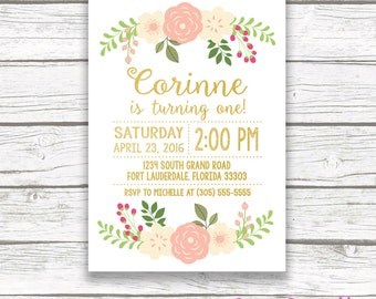 First Birthday Invitation Girl, Floral First Birthday Invitation, Pink and Gold Birthday Invitation, Girl Birthday, Printable Invite