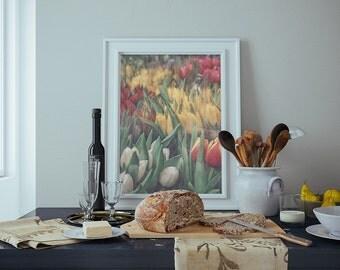 Flower Photography, Tulip Print Art,  Spring Wall Art, British Spring Decor, Red Yellow Art, Girl Nursery Home Decor, Covent Garden, London