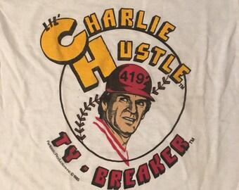 vintage 80s Pete Rose Charlie Hustle Ty - Breaker 4192 Hits t-shirt Baseball