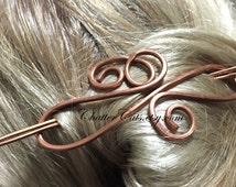 Copper Brass Metal Hair Stick Barrette, Chignon Bun Holder, Hair Clip, Hair Pin, Hair Barrette, U Shaped Hair Pin, Hair Stick, Scarf Clip