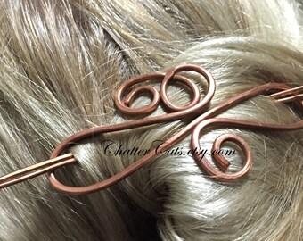 Copper Brass Metal Hair Stick Barrette, Chignon Bun Holder, Hair Clip, Hair Pin, Hair Barrette, U Shaped Hair Pin, Hair Stick, Scarf Clip