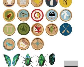 Sam Shakusky Moonrise Kingdom Merit Badge Kit Printable Stickers