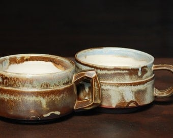 Pair of Coffee Cups Tea Cups with Carved Handles
