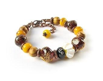 Honey Bee Bracelet, Handmade Lampwork Bracelet, Gift For Her, Art Glass Womens Bracelet, Summer Jewelry, Yellow Brown, Lampwork Jewelry