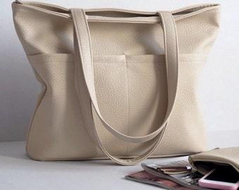 Beige bag, big bag with pockets, women bag, large bag, shoulder bag, handbag, shopper bag, women purse, vegan leather bag
