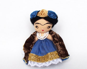 Frida doll Miniature cloth doll OOAK textile doll Collectible doll Souvenir doll Handmade small doll for her 4 inch Frida in blue dress