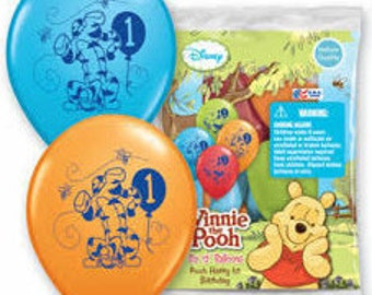 Winnie the Pooh ''1st Birthday'' Latex Balloons 6ct