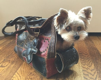 Handmade Leather Dog Carrier / Bag (Leather Patchwork)