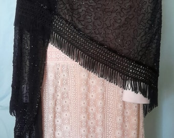 Black beaded shawl with fringe trim, excellent condition