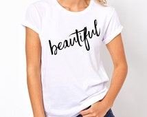 Beautiful tshirt, Teen Girl Gifts, College Girl Gifts, Band Shirt, 5 Seconds of Summer T-Shirt, Fangirl Shirt Black Grey White Ladies Tshirt