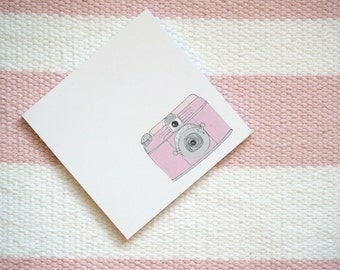 Pink Retro Camera Illustrated Sticky Post It Notes Planner Stickers Cute Stationery