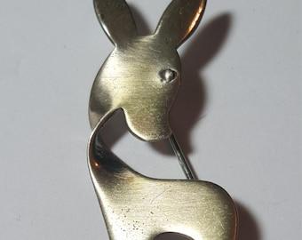 Sterling Silver ORB Pin Brooch Deer