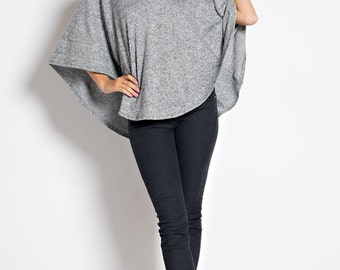 T6307 Hooded High Low V Neck Circle Capelet Sweater Poncho Top (Made in USA)