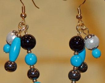 Turquoise Earrings-Hematite Jewelry-Onyx Earrings-Dangle Earrings-Drop Earrings-Bridesmaid Gift-Gift for Mom-Gift for Her-Turquoise Jewelry