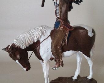 Bronze Indian Warrior Horse Painted Figurine Statue Deliverance Chuck Ren 1993
