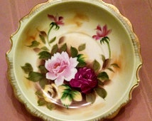Enesco Rose Bowl with Gold Scalloped Edges - Pink, Burgundy, and Yellow Roses- Vintage, Japan