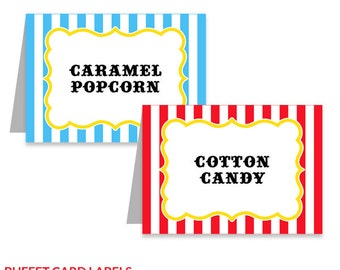 Carnival Circus Party Buffet Cards, Printable Birthday Decorations, Instant Download, Editable Text, Personalize with Adobe Reader