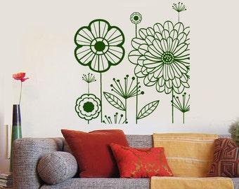 Wall Vinyl Decal Abstract Dandelions Puffball Bouquet of Flowers Flower Ornament Modern Home Decor (#1130dz)