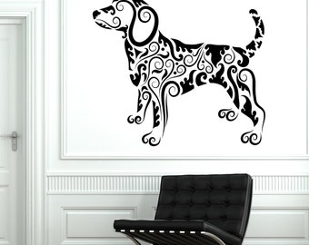 Wall Decal Animal Dog Pets Ornament Tribal Mural Vinyl Decal 1705dz