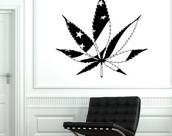 Wall Vinyl Marihuana Weed Smoking USA Flag Sticker 1796dz