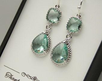 Green Earrings, Bridesmaid Earrings, Aqua, Prasiolite, Erinite, Moss, Sage, Silver, Wedding Jewelry, Bridesmaid Jewelry, Bridesmaid Gifts