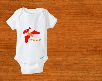 Dinosaur bodysuit. Baby clothes. Pterodactyl. Baby bodysuit. Newborn outfit. Birthday gift. Baby shower gift. Baby girl. Baby boy.
