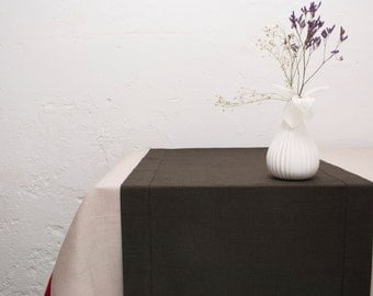 Linen Table Runner with Hemstitch. Dark Chocolate Brown Table Runner. Wedding Table Decor.