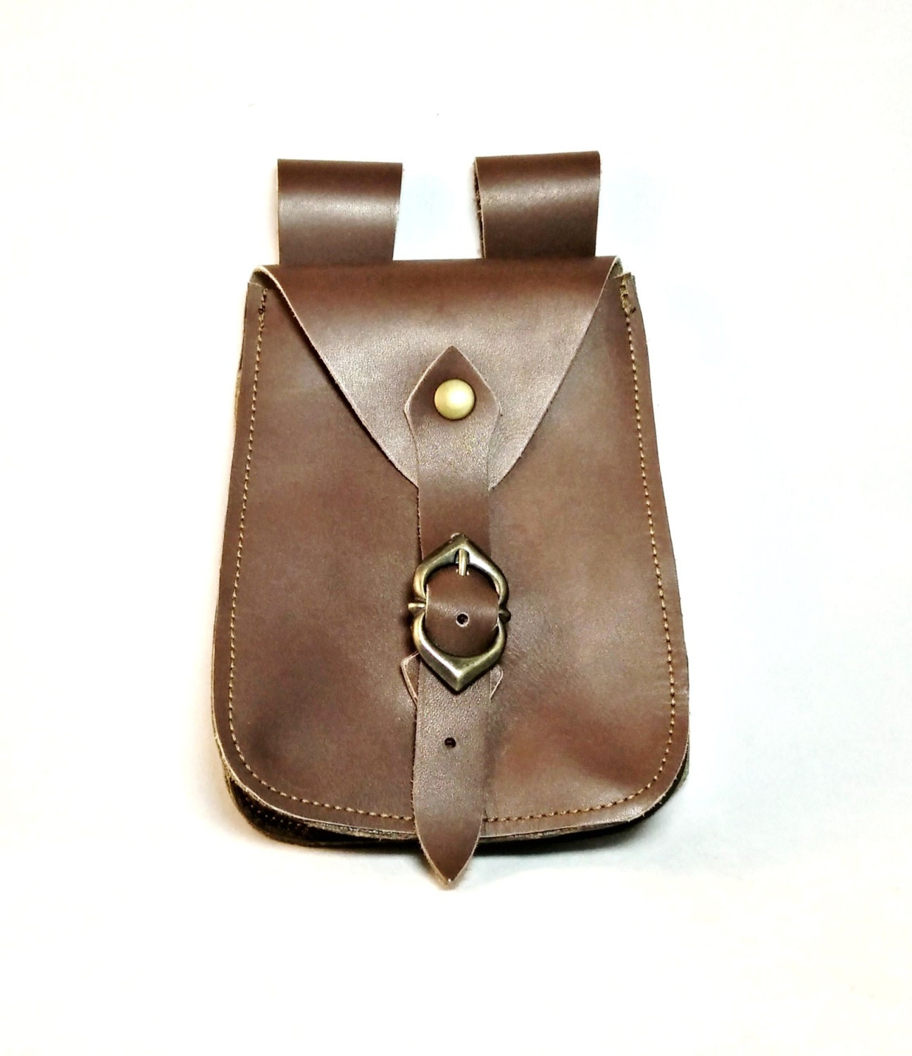 leather belt pouch with decorated metal by