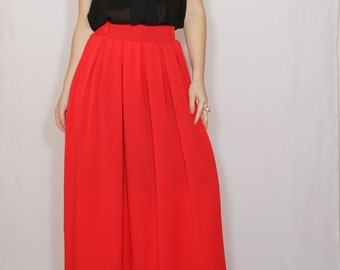 Long red skirt Women Chiffon maxi skirt High waisted maxi skirt with pockets