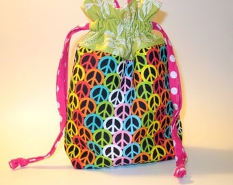 Drawstring Project Bag - Don't Worry Be Hippy